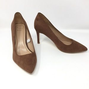 NEW A New Day Vegan Suede Pointed Mid-Heel Pumps